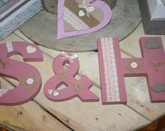Your old country rose wooden letters wedding rustic standing or hanging