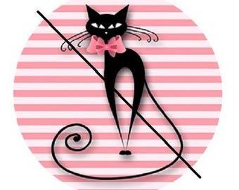 Pink black cat on stripes, 18mm