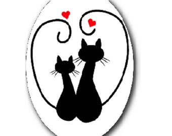 2 black cats and hearts 18x25mm cabochon