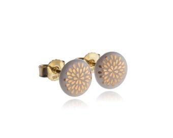 Earrings drop gold on white