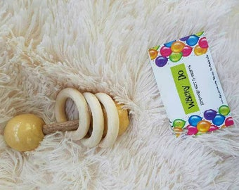 Wooden Rattle Wooden Toy Baby Rattle Teether Baby