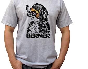 Berner grey t shirt bernese mountain dog top tee 100% ringspun cotton tee graphic design
