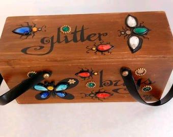 Vintage Enid Collins of Texas Box Bag Wood Purse. GLITTER BUGS. Original 1960's collectable! Mod. Retro. Rhinestone Gems. Butterfly. Mirror.