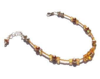 Topaz Pearl Beaded Ankle Bracelet 8.5