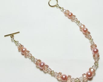 Rose Pink 14K Gold Wedding Bridal Bracelet