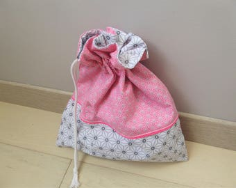 Pouch bag, laundry or lingerie bag storage, fully lined, cotton, made in France