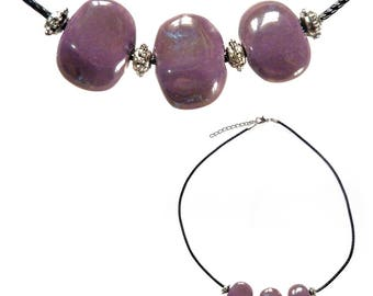 Women purple pearls porcelain necklace silver adjustable black cord