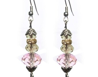 faceted Crystal beads earrings Golden champagne yellow rose