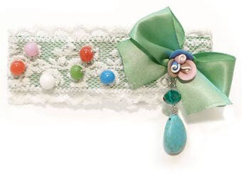Clip barrette hair clip type thin white lace beads multicolored flower fimo green satin bow