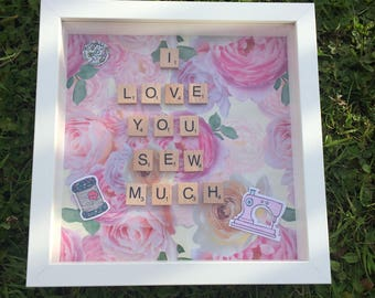 Personalised I love you sew much anniversary frame