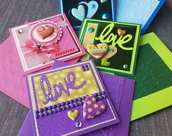 Love cards.Valentines cards.Handmade small love cards.Small Valentines cards.Small envelopes.Glitter.Set of 4