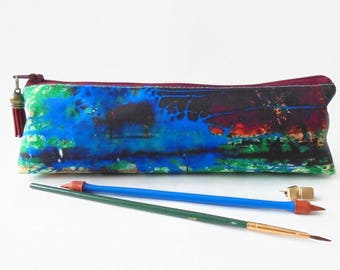 Art gifts, Rusty art print, pencil pouch, brush bag, cosmetic pouch.