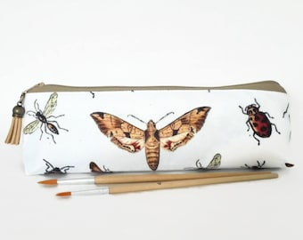 Art gifts, Insect print, pencil pouch, brush bag, art gift, student gift, teacher gift, moths, bugs, beetles, dragonflies.