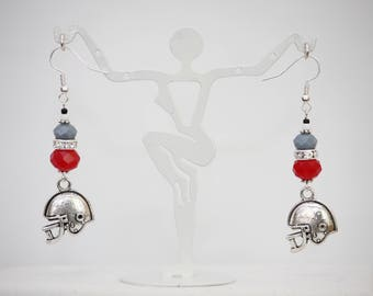 Red and Gray College Football Dangle Earrings. Hypoallergenic Shiny Silver Plated Fishhook Earring Hooks. Handmade Jewelry.