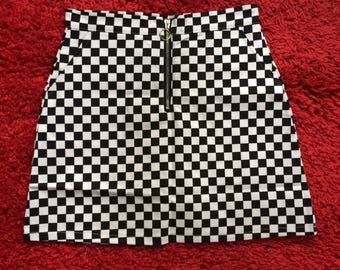 Checkered / Chequered / Checkerboard O-Ring A-Line Skirt