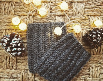 Smokey Gray Boot Cuffs, Crochet Boot Cuffs