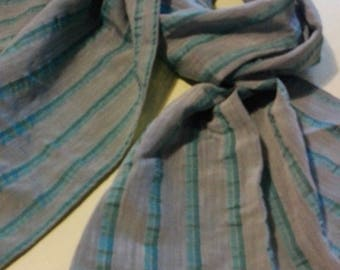Cotton scarf and other striped turquoise blue/gray unisex
