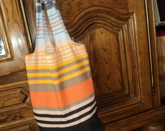 Shape backpack in extra large and lightweight striped cotton beach bag