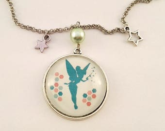 """Cabochon-> """"Tinkerbell"""" pendant necklace"""