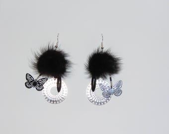 """Earrings, black fur Pompom, prints, Sun, butterflies, sequin """"earrings Poumpoumpidou"""" Pimprenellecreations"""