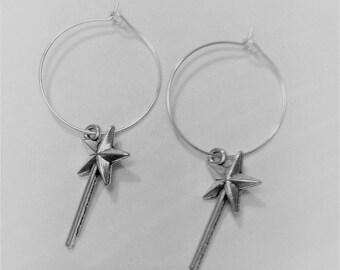 hoop earrings Silver Stick star
