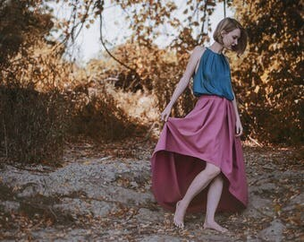 Unique Handmade Designed Pink Maxi Formal Pleated Snaped Skirt