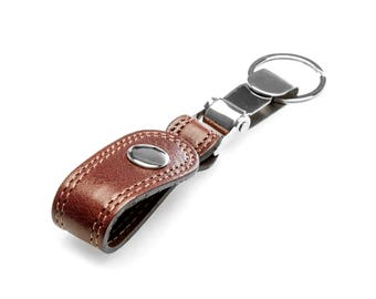 Cow leather carabinier keychain , Polo Keychain ,
