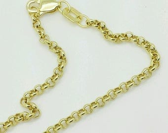"""10k Yellow Dainty Gold Rolo Anklet Chain 8.5""""9""""9.5"""" 10"""" 2.3mm Summer anklet.Beach anklet.Birthday.Graduation gift.Best selling . Sale"""