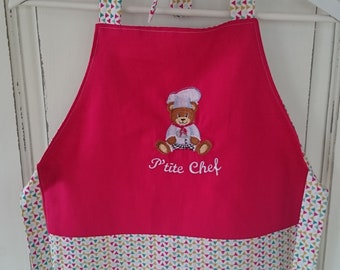 """Embroidered apron """"P"""" little Chief """"-apron reversible and adjustable"""
