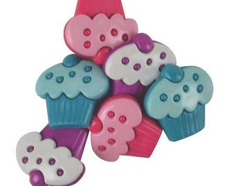 set of 6 22 mm cupcake buttons
