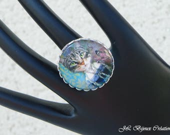Cat 5 glass cabochon Adjustable ring