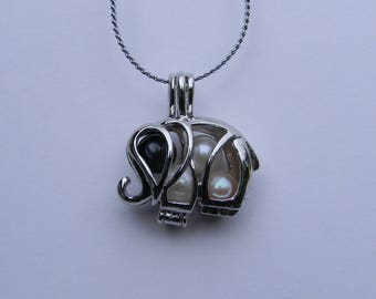 Elephant Cage Pendant & Pearl Necklace  Kit, gift for her, bridesmaid gift, June Birthstone.