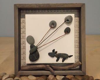 Pebble Art dog - pebble art family, driftwood, customized rock art, driftwood, beach glass, wedding anniversary christmas gift, wall art