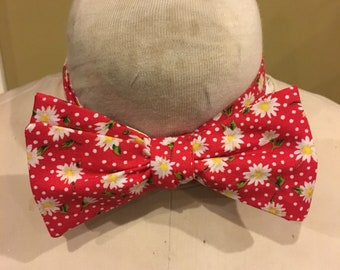Cecil's Red Floral Bow tie