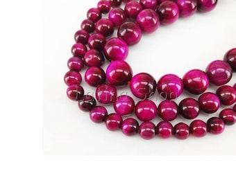 Tiger eye Grade A - 4/6/8 / 10mm - 2/10/100 beads to choose - pink Fuchsia - semi-precious Gemstones