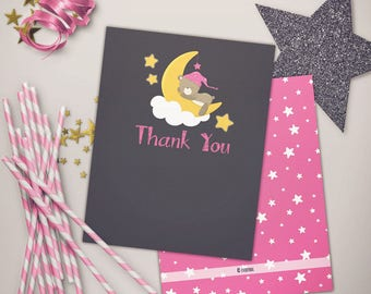 Twinkle Little Moon Bear Baby Shower Pinks Thank You Note
