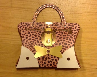 """Card / packaging """"Mini handbag"""" - open to put a small gift inside!"""