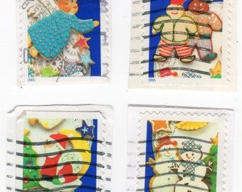 Holiday Cookies US Postage Stamps (4). Used - On Paper - Scott 3953-3956