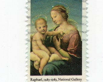 Madonna and Child (2 Stamps) - US Postage - Used - Off Paper - Scott 2063