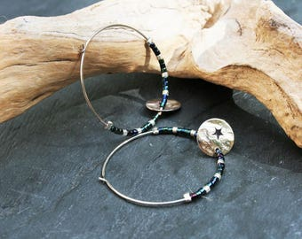 Minimalist earrings silver and blue, green glass beads miyuki and star charm