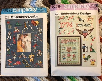Embroidery Design Patterns (2), Sports & American Sampler