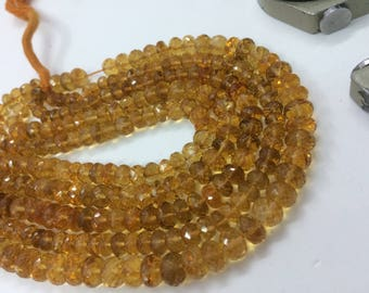 "Natural Citrine beads 6-8mm, Citrine faceted rondelle 8""inch strand, AAA quality Citrine rondelle"