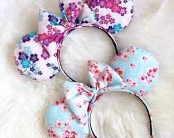 Pretty In Floral Pink & Blue Disney Ears