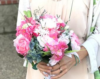Dreamy Blossom Wedding Bouquet 12inch Bridal Peony Faux Silk Flower Arrangement