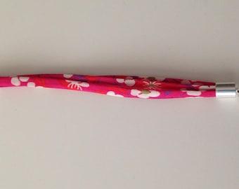 Pink floral Liberty fabric girl bracelet