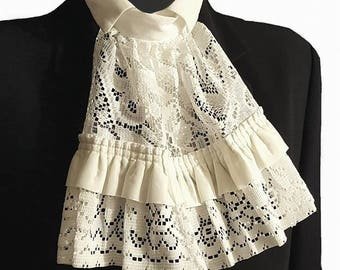 Cream & White Lace And Satin Jabot Cravat Collar Steampunk Victorian Fancy Dress Theatre Regency Pirate Burlesque Z29