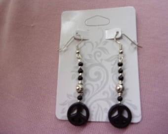 Black and silver peace sign dangle earrings