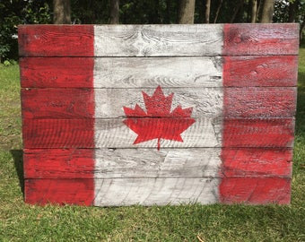 Rustic Canada Flag Reclaimed Wood Sign