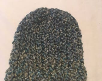 Blue and silver baby hat
