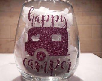 Happy Camper Custom Wine Glass